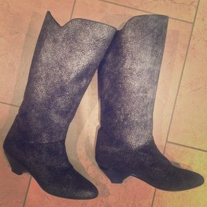Casadei SILVER metallic suede leather boots 6.5